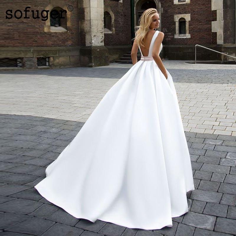 White Wedding Dresses Square Collar Satin Backless Bridal Gown Wedding Vestidos de Noivas Custom in Wedding Dresses from Weddings Events