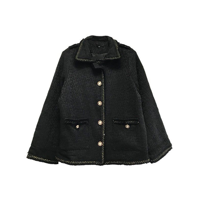 2019 Herfst Nieuwe Vrouwen Tweed Jas Loose Fit Casual Uitloper Jas Vrouwelijke Zakken Single Breasted Designer Korte Jas Streetwear - 6