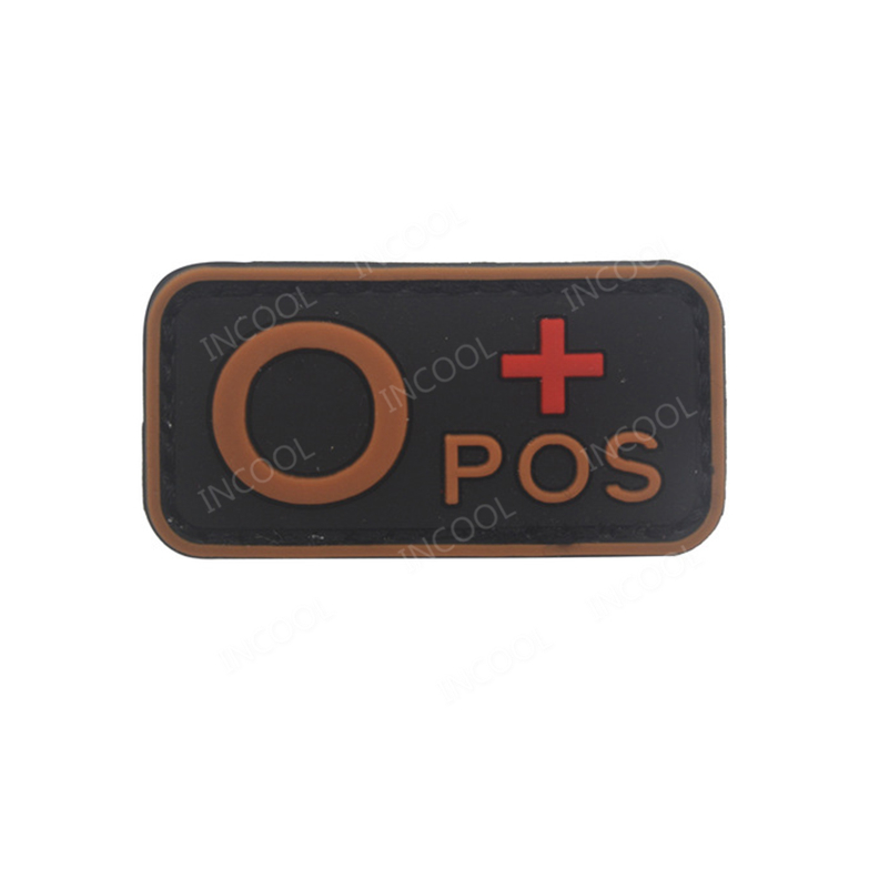 3D PVC Patch A+ B+ AB+ O+ Positive POS A- B- AB- O- Negative NEG Orange Blood Group Tactical Morale Patch Military Rubber Badges ...