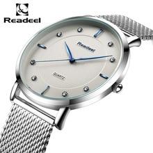 Readeel Brand Men's watches dress quartz watch men steel mesh strap quartz-watch Ultra-thin ul clock relogio masculino Relojes