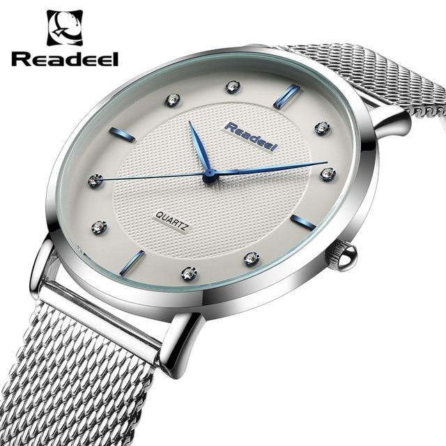 eac8cb46c Readeel relógios vestido dos homens da Marca malha cinta Ultra fino relógio  de quartzo dos homens de aço relógio de quartzo relógio ul relogio  masculino ...