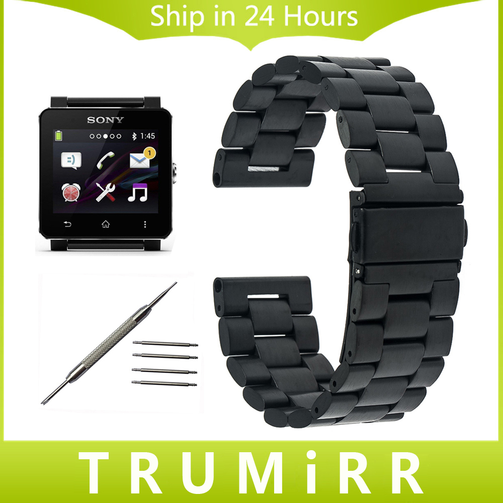 24mm stainless steel watchband for sony smartwatch 2 sw2. Black Bedroom Furniture Sets. Home Design Ideas