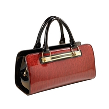 ICEV New European Fashion Simple Diamonds Patent Leather Handbag Women Handbags Panelled Ladies Big Totes Top Handle Bag