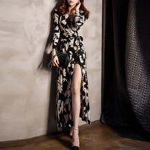 Бесплатная Доставка женская летняя обувь платье с цветочным рисунком v-образным вырезом Высокий разрез beted сексуальное платье в богемном стиле длинное платье дамы Slim платье S-XL