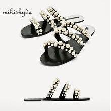 Купить с кэшбэком 2017 summer beach dresses shoes pearl beads sandals thin belt roman flat women flip flops casual slippers fashion