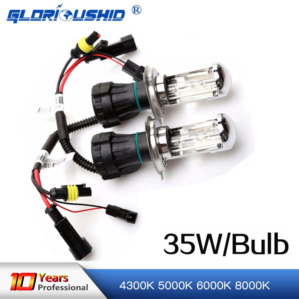 2PCS 35w xenon H4 High low bi xenon HID replacement bulb 9003 HB2 4300K 6000K for car headlight 4set 35w car xenon headlight h4 9003 hi lo bi xenon hid repalcement ac bulbs