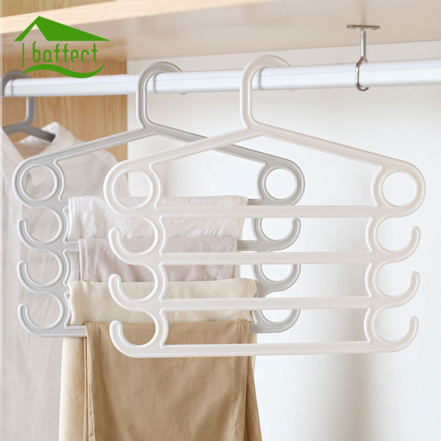 Bon Simple Magic Plastic Trousers Hanger Multifunction Pants Closet Belt Holder  Rack S Type 4 Layers