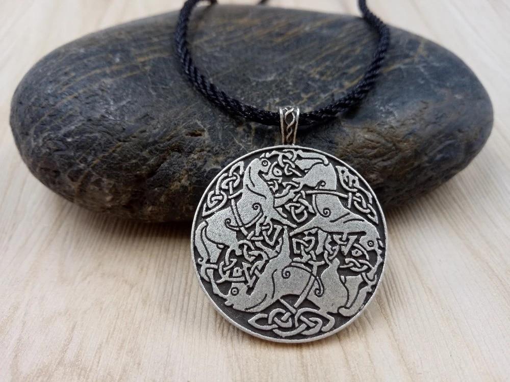 Silver Celtic Cross 3 Horse Pendant Necklace Goddess Epona Viking Norse UK Sell