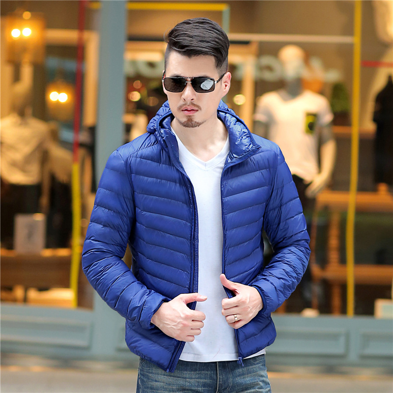 2019 New Men White Duck Down Jacket Portable Hooded Down Coat Ultralight Men Winter Coat Warm Thermal Down Parkas Plus Size Down Jackets Men's Clothing