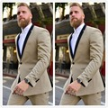 2016 Champagne Gentleman One Button Groom Tuxedos Blazer Wedding Prom Men Suits Slim Fit Groomsman Wear Custom Made Two Pieces