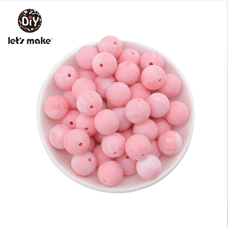 Купить с кэшбэком Silicone Beads BPA Free 12mm Round Marble Colors Food Grade Silicone Teethers 50pcs Beads for pacifier Let's Make Baby Teethers