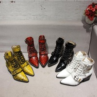 real leather snake print pointed toe hollow belt buckle flat ankle woman boots cool woman leather lace up belt buckle ankle boot