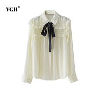 VGH Espanha Mulheres Doce Voltar Lace Up Bow Tie Camisas Preto branco Blusa Solta Estilo Europeu Ladies Casual Sólidos Tops Blusast A4524