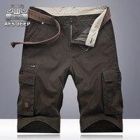 AFS JEEP Cargo Shorts Summer Multi Pockets Casual Mens Shorts Soild Cotton Bermuda Moletom Masculino Plus