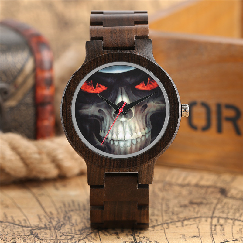 Gothic Rock Wooden Watch Stylish Skull Dial Handmade Black Sandalwood Band Analog Modern Unique Wrist Watch Simple reloj hombre цены онлайн