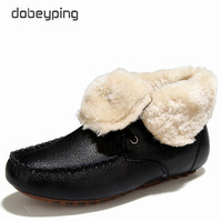 dobeyping 2017 New Winter Snow Boots Keep Warm Plush Shoes Woman Genuine Cow Leather Female Ankle Boots Casual Women Flats Shoe