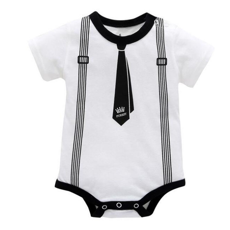 Newborn Baby Clothing Summer Gentleman Rompers 0-12M Infnat Boys Cotton Jumpsuit Male Bebe Body Clothes Tie Print Short Sleeve | Happy Baby Mama
