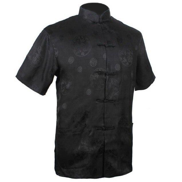 New Fashion Black Men's Satin Shirt Top Chinese Kung Fu Shirt Short-Sleeve Shirt With Pocket S M L XL XXL XXXL MS006