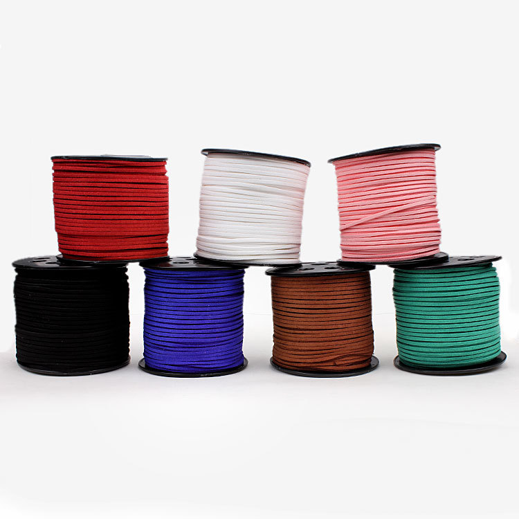 20meters/bag 2.7mm x 1.5mm Multicolor Flat Faux Suede Velvet Leather Cord20meters/bag 2.7mm x 1.5mm Multicolor Flat Faux Suede Velvet Leather Cord