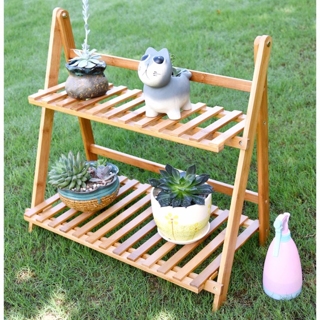 Incroyable Creative 2 Tire Flower Pot Racks Home Garden Decor Flower Rack Wood Storage  Holder Plant Pot