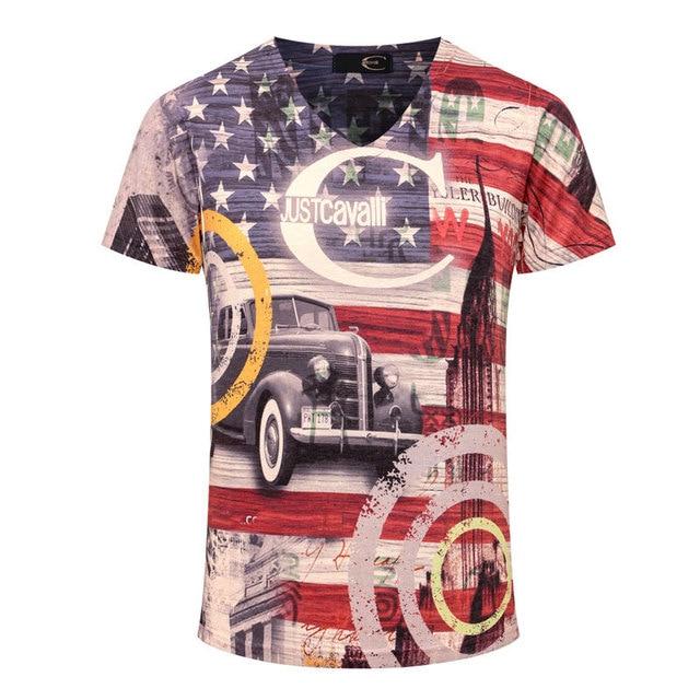 a298c3f5 2016 New Arrival 3D T Shirt Men Summer Fashion American Flag Printed Men  Slim Fit V