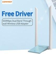 802.11 a/b/n/g/ac bezprzewodowy Adapter USB dwuzakresowy 2.4 + 5 GHz 650 mb/s karta sieciowa Adapter Dongle z 2 * 6dbi Wi fi anteny