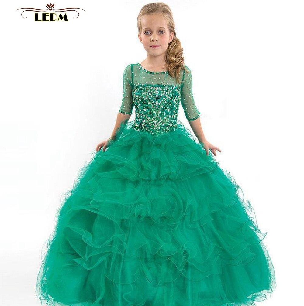 Vestido daminha 2019 tulle crystal Scoop back open half sleeve fluffy emerald   flower     girl     dresses   long beautiful communion   dress