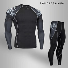 rash guard men winter teen wolf set men crossfit Shirts top thermal underwear Men's fitness set MMA compression Clothing S-4XL(China)