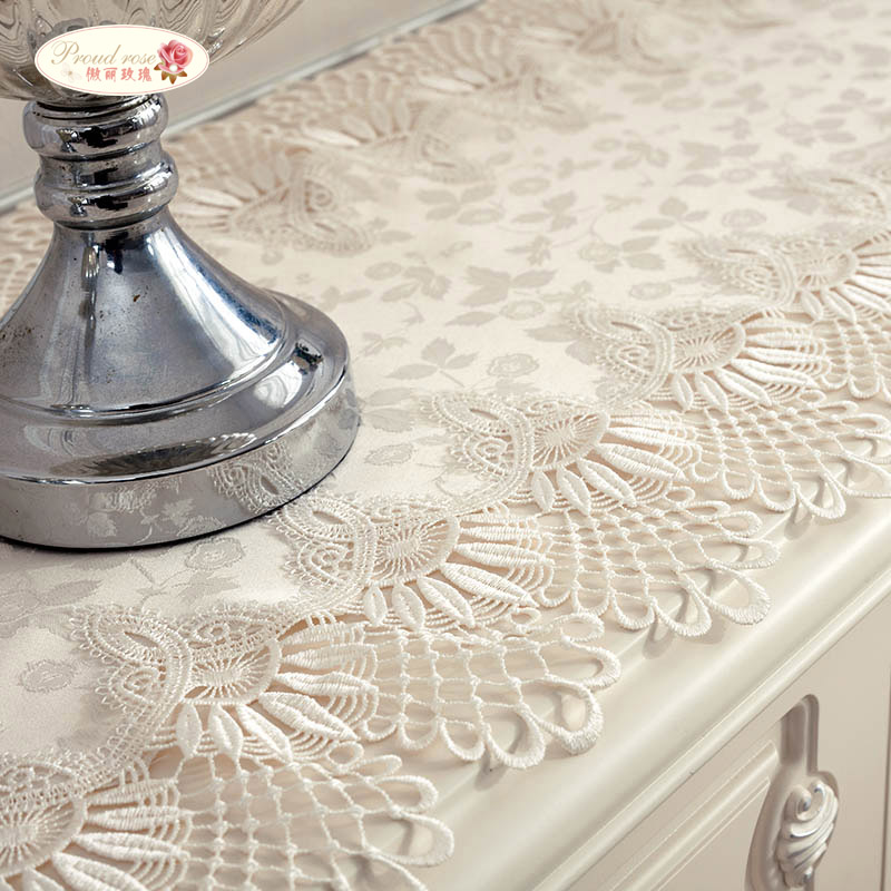 Proud Rose Beige Table Cloth Lace Table Runner Table Flag Bed Runner Jacquard Weave Table Runner Pastoral TV Cabinet Cover Cloth