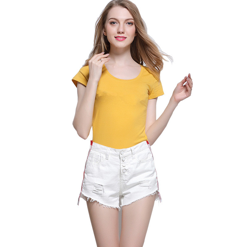 DTYNZ Fashion Ladies High Waist Ripped Denim Short White High Waisted Jean Shorts Female Distressed Short