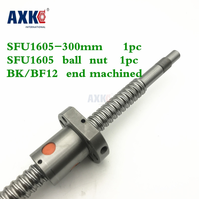 купить SFU1605 300mm Ball Screw Rolled C7 ballscrew SFU1605 L 300mm with one 1605 flange single ball nut BK/BF12 machined for CNC parts по цене 1230.8 рублей