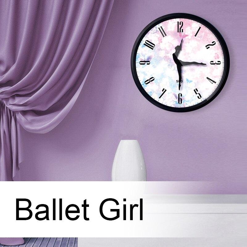 12 Inch Silent Quartz Wall Clock, Yoga Music Ballet Dance With Ballet Dancer Pointer For Ballet Lover, Ballet Classroom Teacher