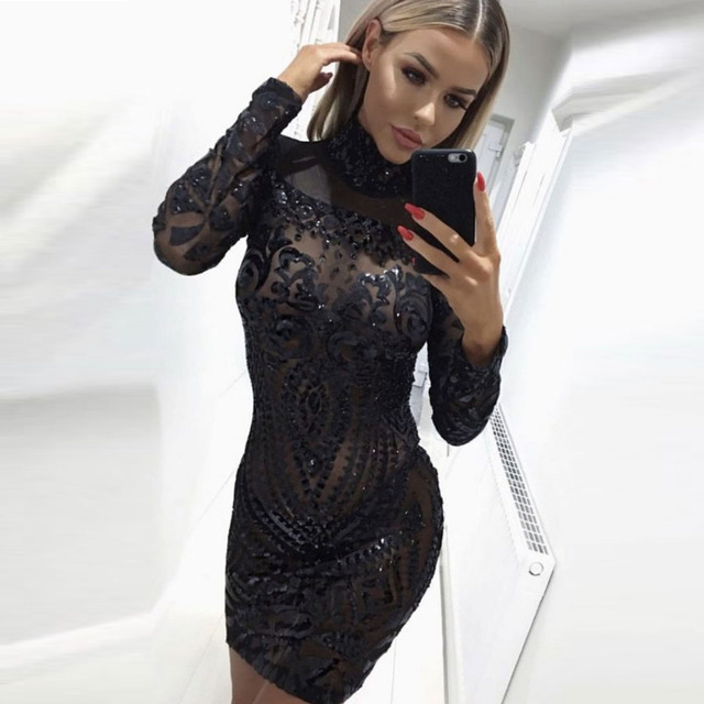 b9fdd011708f 2018 Sexy Perspective Long Sleeve Black Sequined Party Dress Bodycon High O Neck  Mini Dress Tight Package Hips Club Dress-in Dresses from Women's Clothing  ...