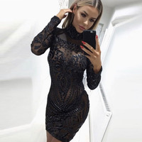 2018 Sexy Perspective Long Sleeve Black Sequined Party Dress Bodycon High O Neck Mini Dress Tight Package Hips Club Dress