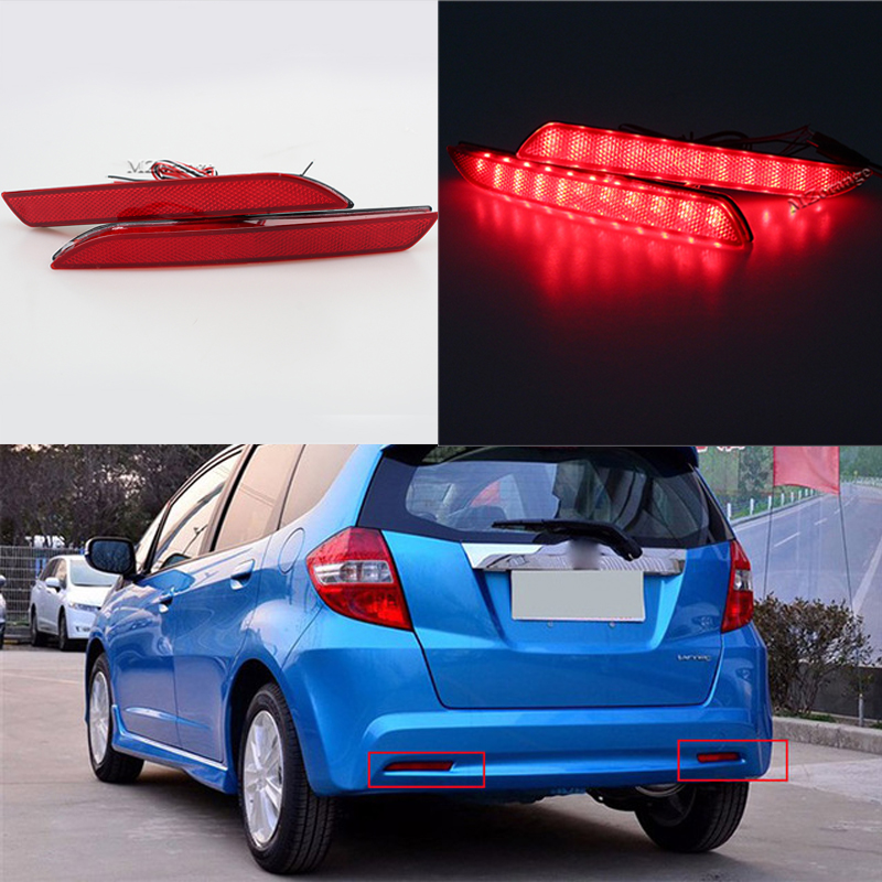 цена на MZORANGE 2pcs For Honda Fit 2010-2014/STEPWGN RG Red Rear Bumper Reflector Lamp Car LED Parking Warning Tail Burner Lights Lamp