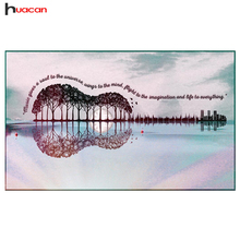 Huacan Diamond Painting Guitar DIY Tree Diamond Embroidery Landscape Cross Stitch Mosaic Rhinestones Full Square Home Decoration