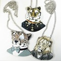 Новый Ручной Мультфильм Дизайн Голова Животного Коллекции Человек Цепи Деревянный Тигр Леопард Лев Прохладный Мужчины Животное Ожерелье