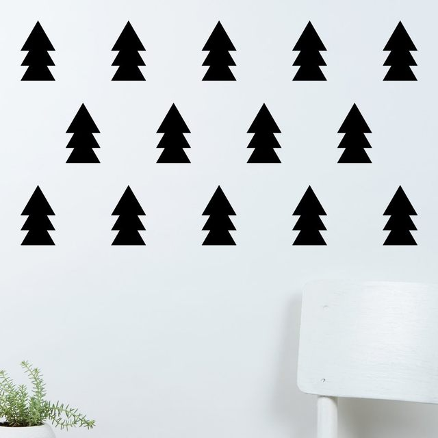 Special Christmas Tree Silhouette Cute Wall Stickers Home Children Bedroom Loving Decor Set Patterned Trees Wallpaper Wm 509