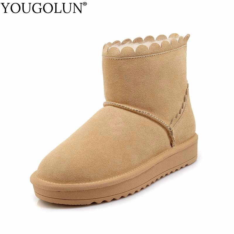 YOUGOLUN Genuine Suede Snow Boots for Women Winter New Fashion Warm Black Blue Shoes Woman Fashion Ruffles Flat Ankle Boot #B187 xiangxue warm and fuzzy black suede flat boots for winter 2018 chelsea boots for women