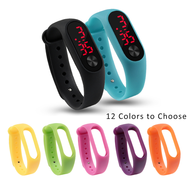 12 Colors Silicone Sports Watch Strap Men Women Led Casual Bracelet Wristwatch B