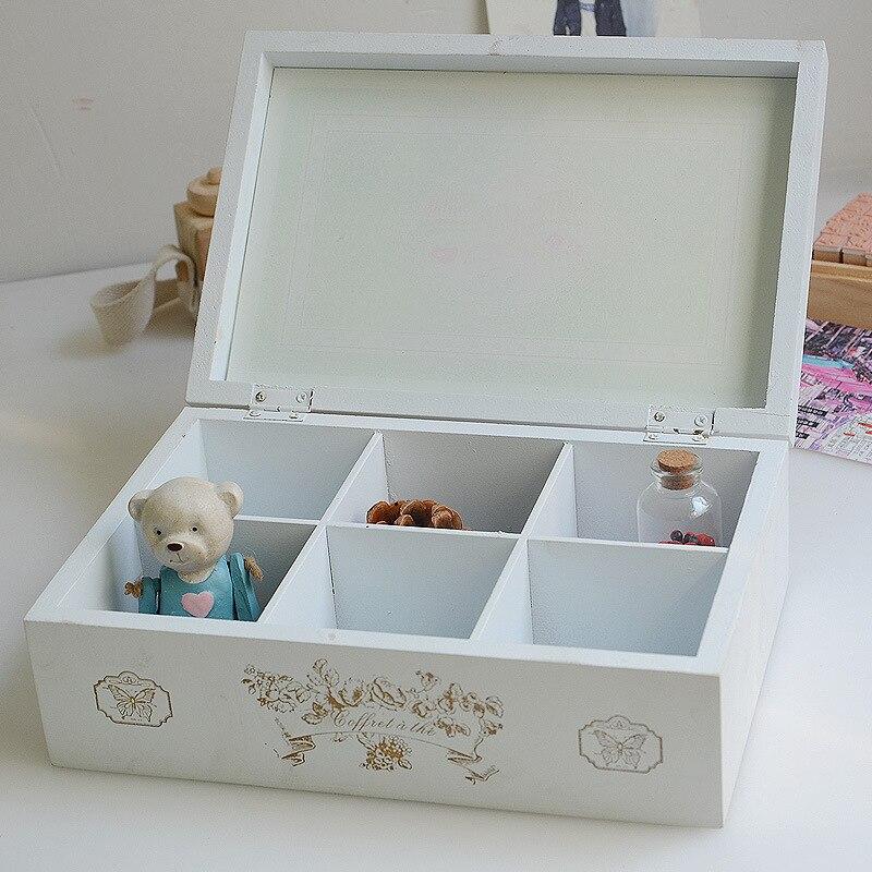 Vintage rétro organisateur conteneur boîtes de rangement en bois cosmétique boîte à bijoux décoratif solide affichage boîtes en bois pour les amis