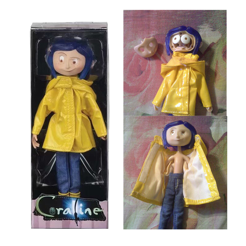 Coraline  NECA  Coraline Figure Doll The Secret Door Coraline Y La Puerta Secreta Raincoat Action Figure Toys Christmas Gift