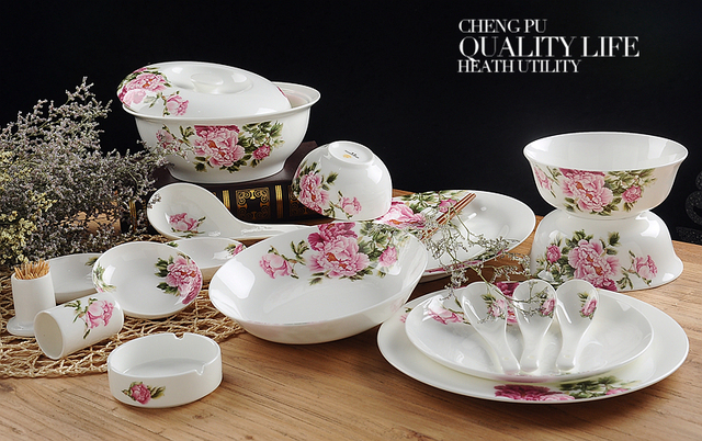 58pcs/lot, real bone china dinner set, japanese utensils