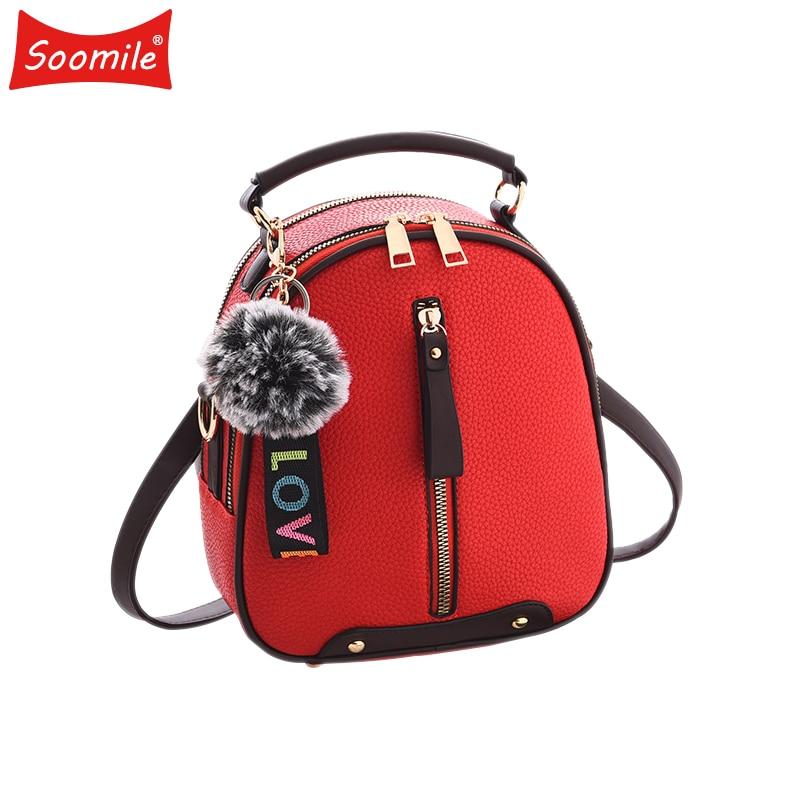 Soomile Mini Female Backpack 2018 new brand youth women leather backpacks for teenage Girls school shoulder bag Bagpack mochila
