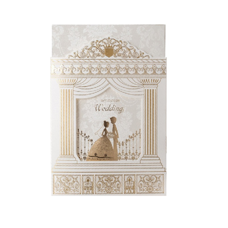 50 pieces Wedding invitation Cards Gold foiling frame church style wedding invitations Suppliers