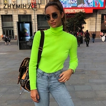 ZHYMIHRET 2018 Autumn Winter Neon Color Ribbed T Shirt Women