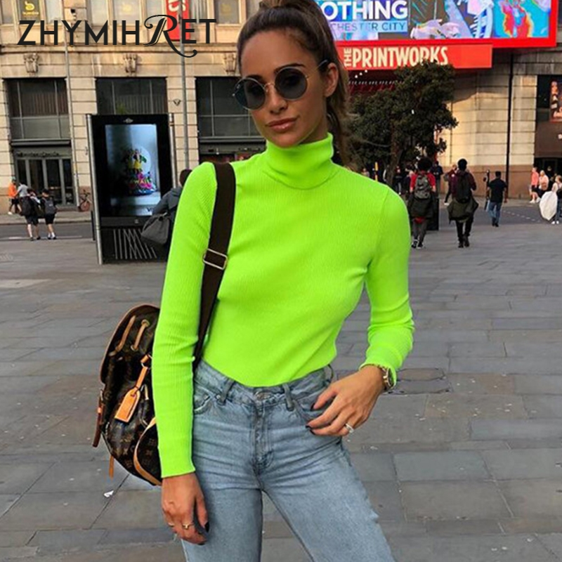 Zhymihret 2019 outono inverno cor de néon com nervuras t camisa feminina manga longa gola alta tshirt moda malha topos t femme