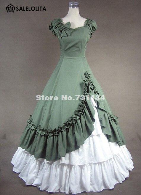 Высокое качество, зеленое милое Хлопковое платье в викторианском стиле, Южно-Белль, викторианское платье принцессы, старое западное платье, Театральный Костюм