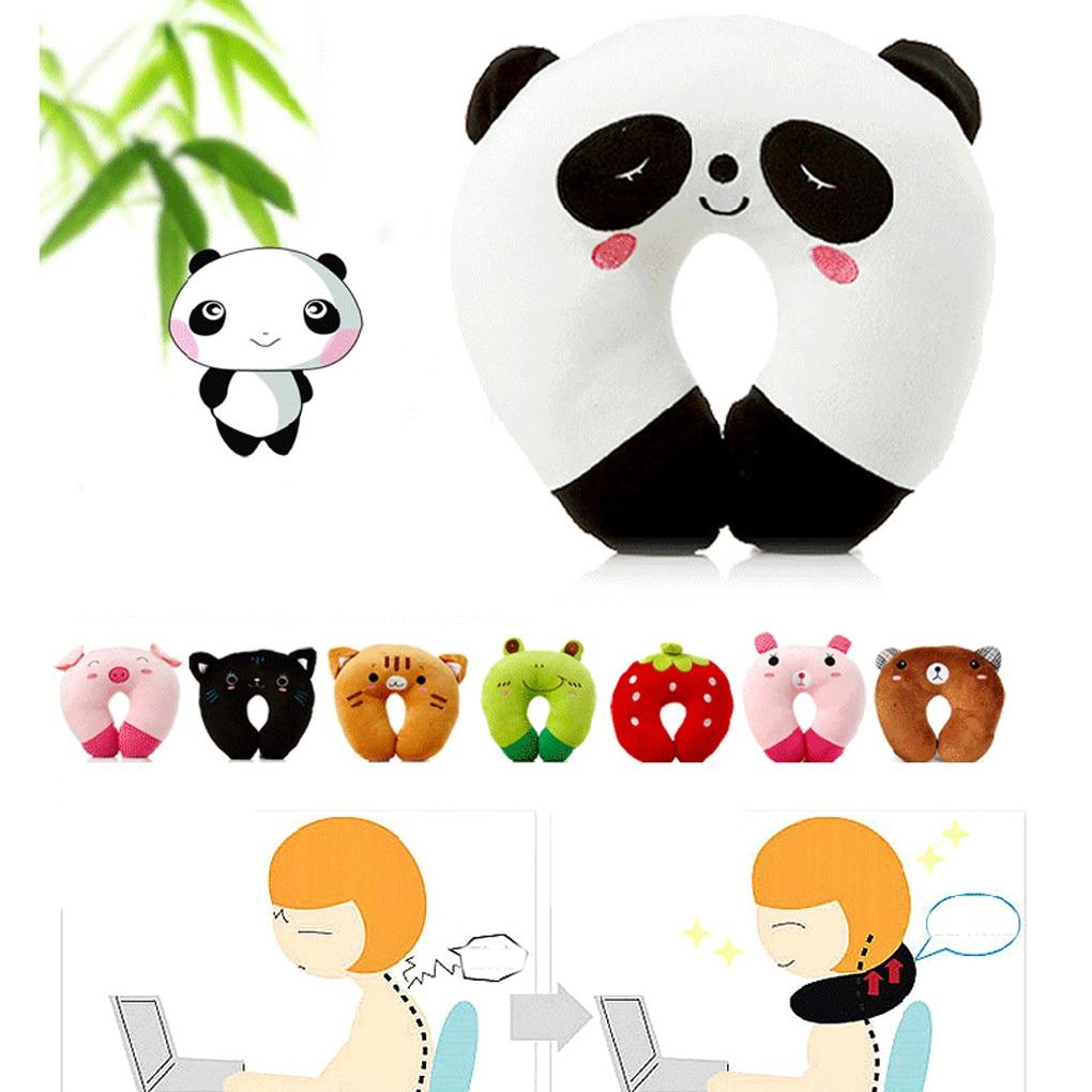 Hot sale 9 styles u-shaped plush pillow travel pillow cartoon animal car headrest doll
