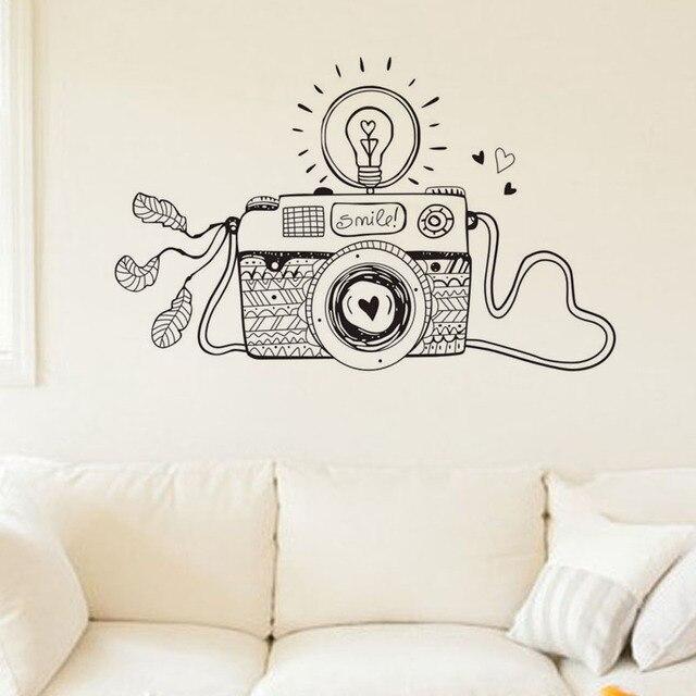 Creative Smile Light Camera Wall Stickers Design Cartoon Home Decor ...